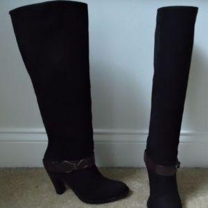 COLE HAAN Air Black Nubuck Tantivy Knee-High Boot